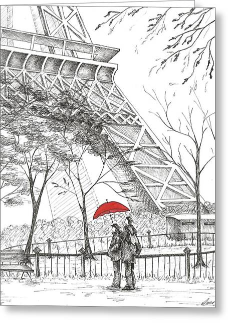 Ink Drawing Greeting Cards - Romantic Paris Greeting Card by Anna Giller