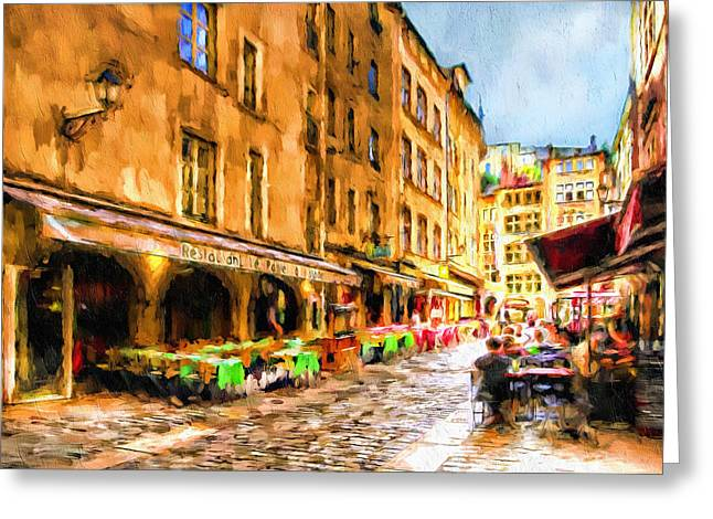 Fine Art Greeting Cards - Romantic Parisian Luncheon Greeting Card by Georgiana Romanovna