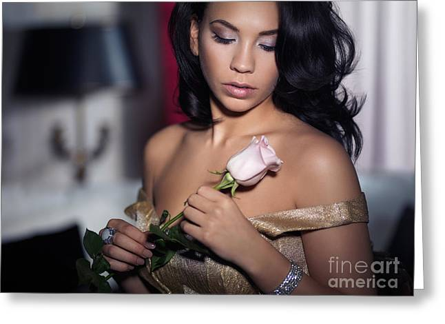 Romantic portrait of young woman with rose in hands Greeting Card by Oleksiy Maksymenko