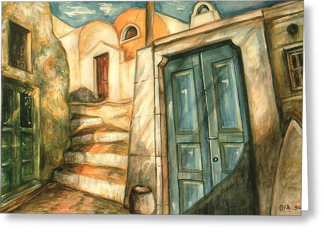 Artwork Greeting Cards - Romantic Santorini Lane - Watercolor Painting Greeting Card by Peter Fine Art Gallery  - Paintings Photos Digital Art