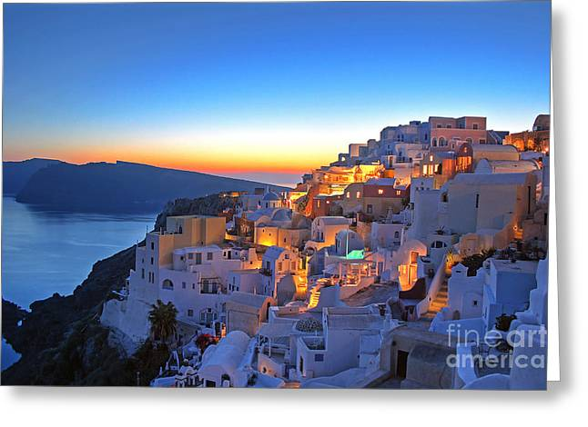 Areal Greeting Cards - Romantic Santorini Greeting Card by Lars Ruecker