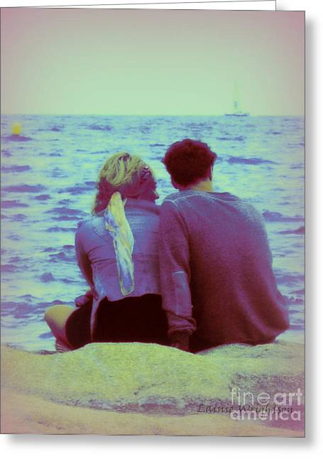 Romantic Seaside Moment Greeting Card by Lainie Wrightson