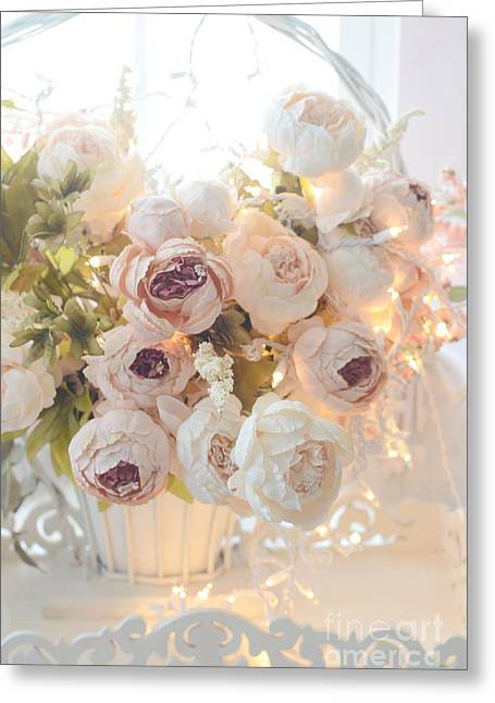 Romantic Shabby Chic Dreamy Pink And White Peonies - Shabby Chic Peonies In Basket Greeting Card by Kathy Fornal