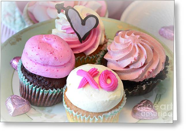 Cupcakes Greeting Cards - Romantic Shabby Chic Valentine Heart Pink Cupcakes - Dreamy Cupcakes Kitchen Art  Greeting Card by Kathy Fornal