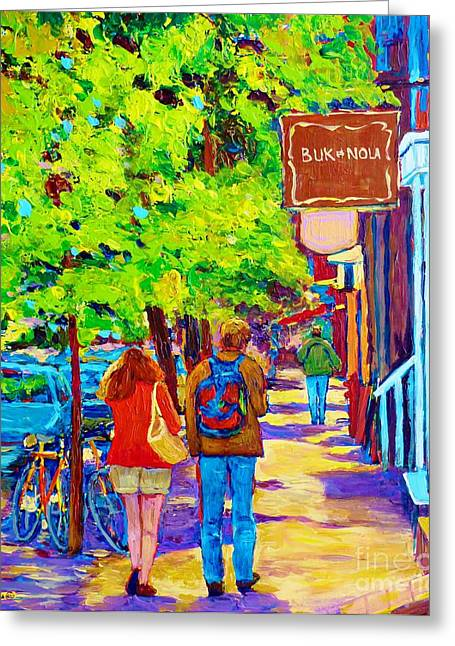 The Plateaus Paintings Greeting Cards - Romantic Stroll Along Rue Laurier Montreal Street Scenes Paintings Carole Spandau Greeting Card by Carole Spandau