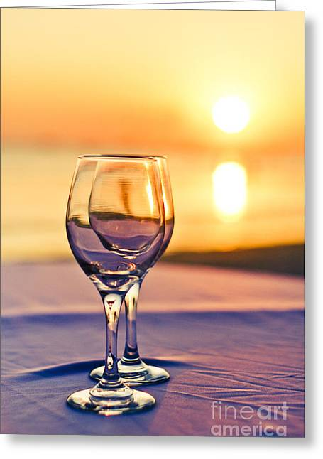 Wine Service Photographs Greeting Cards - Romantic Sunset Drink With Wine Glass Greeting Card by Tuimages