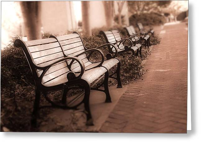 Park Benches Greeting Cards - Romantic Surreal Park Bench Pink Sepia Tones Greeting Card by Kathy Fornal