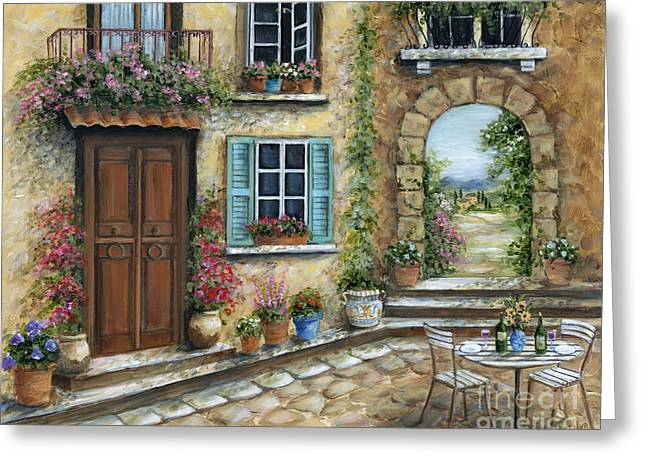 Table Wine Greeting Cards - Romantic Tuscan Courtyard Greeting Card by Marilyn Dunlap
