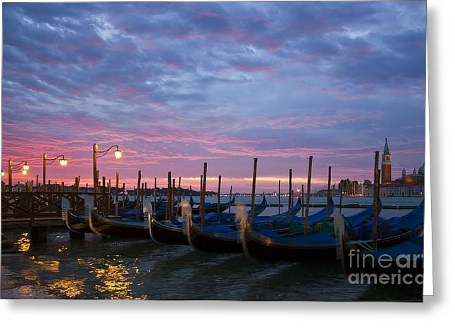 Italian Islands Greeting Cards - Romantic Venice Sunrise with Gondolas Greeting Card by Kiril Stanchev