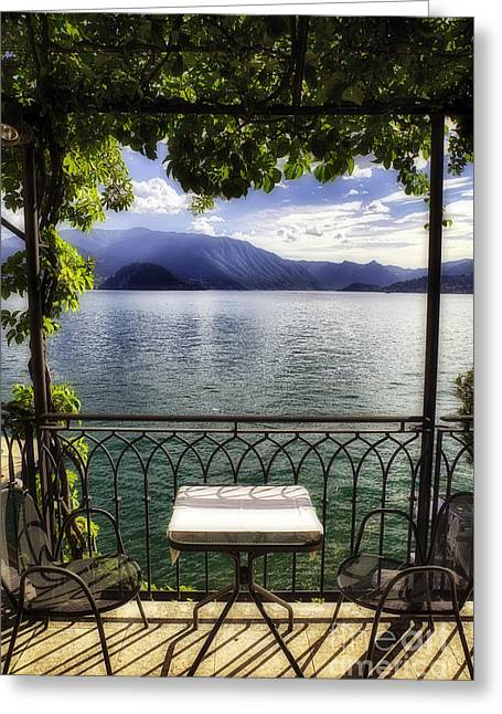 Trellis Greeting Cards - Romantic View of lake Como Greeting Card by George Oze