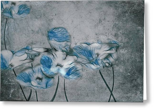 Blue Flowers Digital Art Greeting Cards - Romantiquite - 02a Greeting Card by Variance Collections