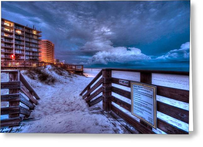 Sand Fences Digital Art Greeting Cards - Romar Beach Clouds Greeting Card by Michael Thomas