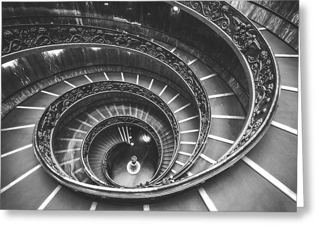 Rome Pyrography Greeting Cards - Rome - Maelstrom Stairs Greeting Card by Jean Claude Castor