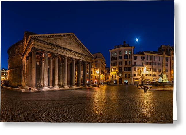 Rome Pyrography Greeting Cards - Rome - Pantheon Panorama Greeting Card by Jean Claude Castor