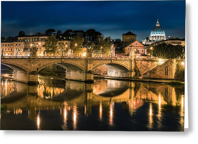 Rome Pyrography Greeting Cards - Rome - Ponte Vittorio and Saint Peters Basilica Greeting Card by Jean Claude Castor