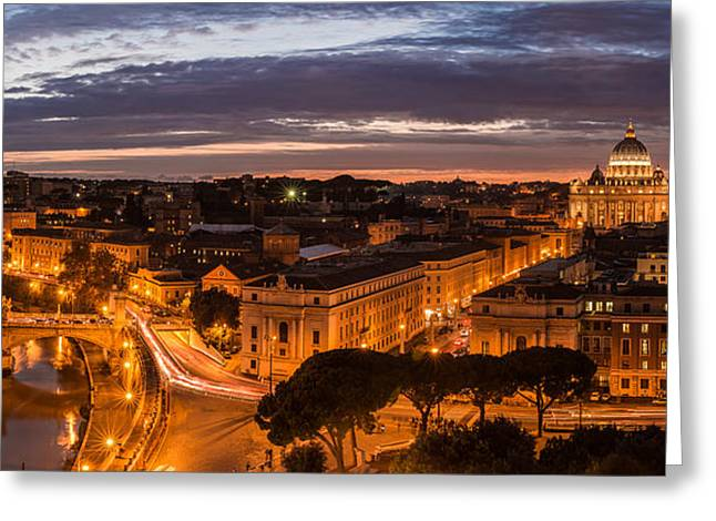 Rome Pyrography Greeting Cards - Rome - Ponte Vittorio and Vatican Greeting Card by Jean Claude Castor