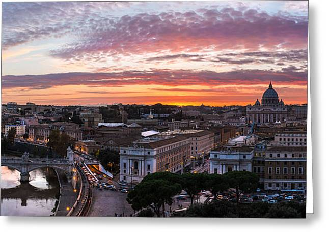 Rome Pyrography Greeting Cards - Rome - Skyline Panorama Sunset Greeting Card by Jean Claude Castor