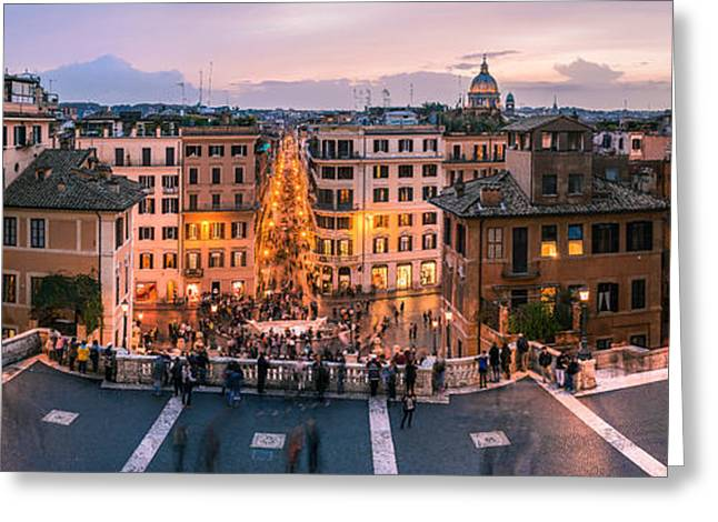 Dome Pyrography Greeting Cards - Rome - Spanish Steps Panorama Greeting Card by Jean Claude Castor