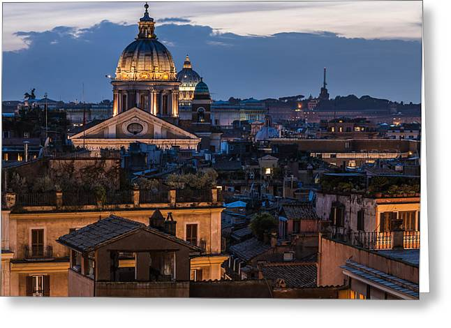 Rome Pyrography Greeting Cards - Rome - Spanish Steps View Greeting Card by Jean Claude Castor