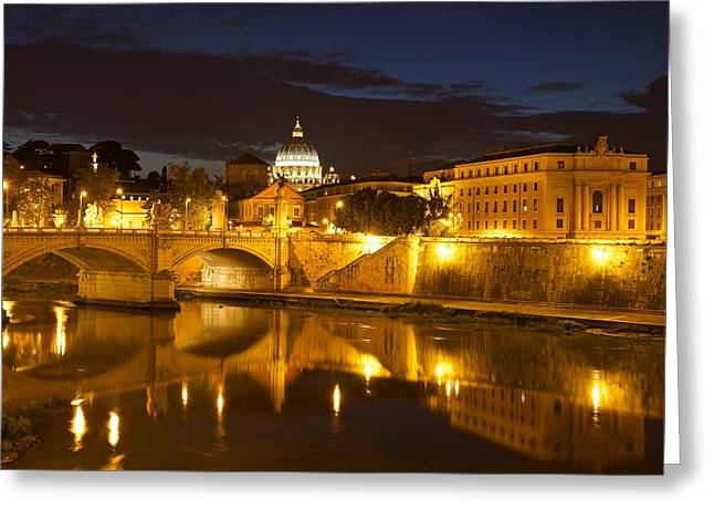 Basilica Di San Pietro Greeting Cards - Rome at night Greeting Card by Stephen Taylor