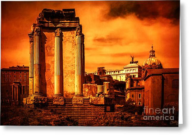 Charly Greeting Cards - Rome Burning Greeting Card by Prints of Italy