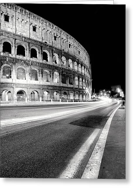 Traffic Greeting Cards - Rome Colloseo Greeting Card by Nina Papiorek