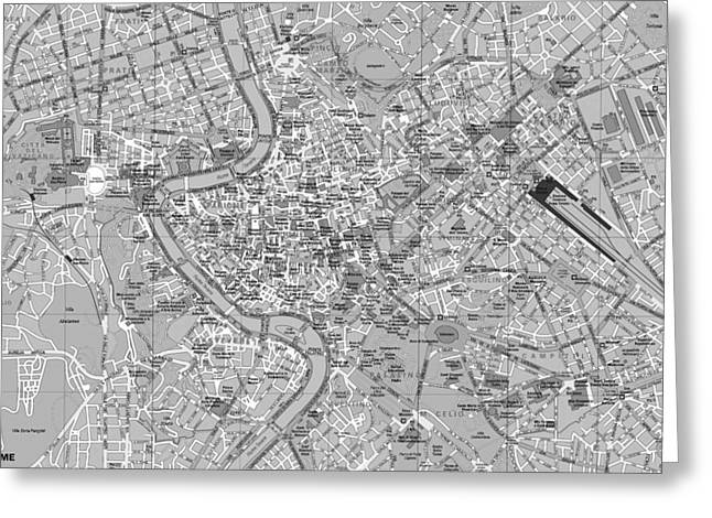 Detail Mixed Media Greeting Cards - Rome Detailed Map Black And White Greeting Card by Dan Sproul