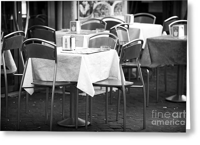 Italian Restaurant Greeting Cards - Rome Empty Tables Greeting Card by John Rizzuto