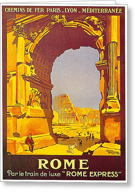 Express Paintings Greeting Cards - Rome Express 1921 Greeting Card by Roger Borders