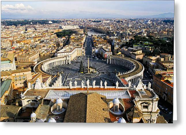 Basilica Di San Pietro Greeting Cards - Rome From The Top of St Peters Greeting Card by Mark Tisdale