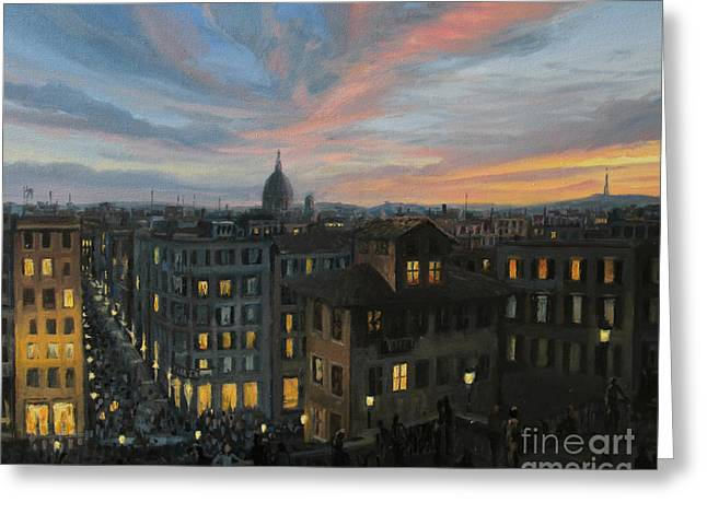 Italian Sunset Greeting Cards - Rome in The Light of Sunset Greeting Card by Kiril Stanchev