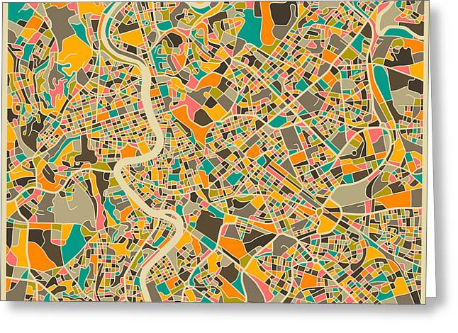 Rome Greeting Cards - Rome Map Greeting Card by Jazzberry Blue