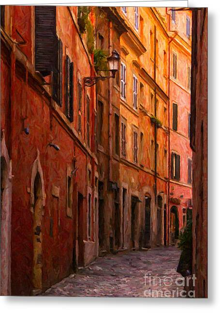 Digital.oil Greeting Cards - Rome Narrow Street Painting Greeting Card by Antony McAulay