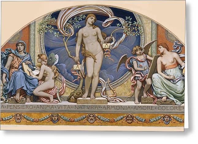 Vedder Greeting Cards - Rome Representative of the Arts Greeting Card by Elihu Vedder