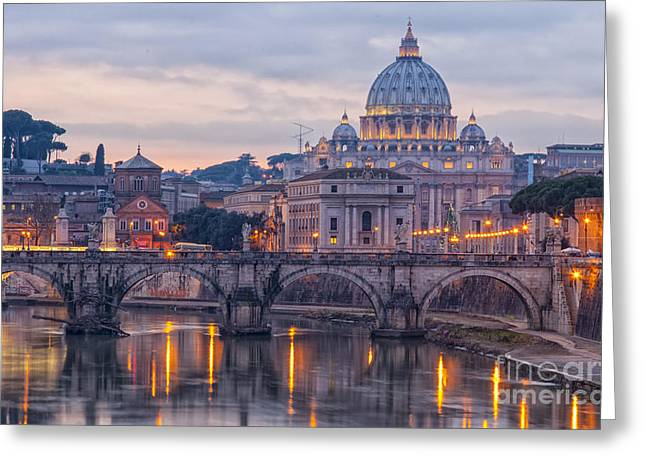 Italian Sunset Greeting Cards - Rome Saint Peters Basilica 01 Greeting Card by Antony McAulay