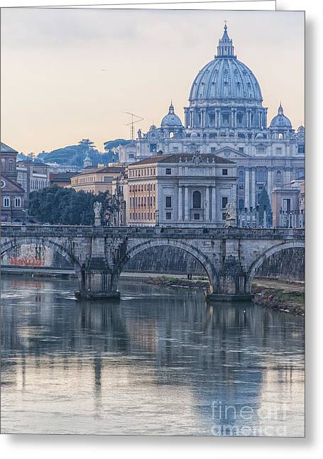 Italian Sunset Greeting Cards - Rome Saint Peters Basilica 02 Greeting Card by Antony McAulay