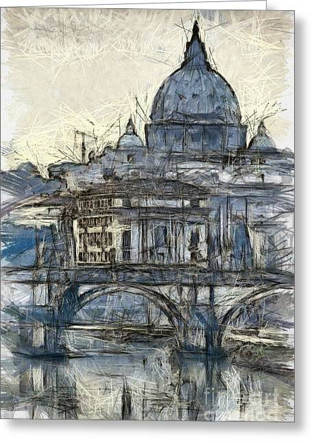 Skylines Pastels Greeting Cards - Rome Saint Peters Basilica sketch Greeting Card by Antony McAulay