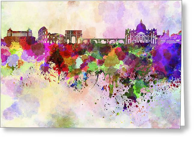 Rome Greeting Cards - Rome skyline in watercolor background Greeting Card by Pablo Romero