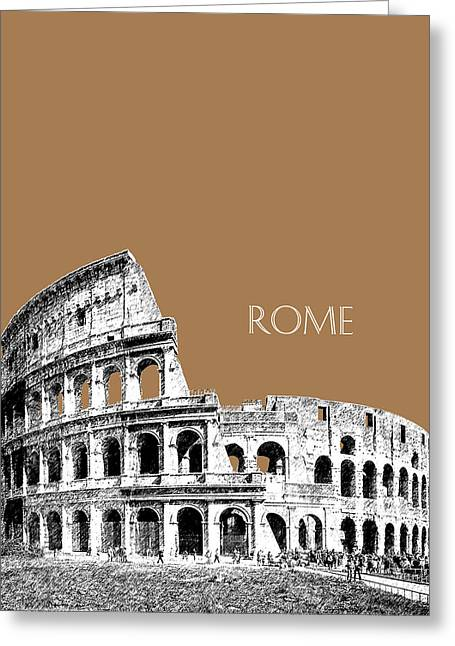 Rome Skyline The Coliseum - Brown Greeting Card by DB Artist