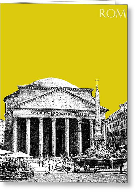 Pantheon Greeting Cards - Rome Skyline The Pantheon - Mustard Greeting Card by DB Artist