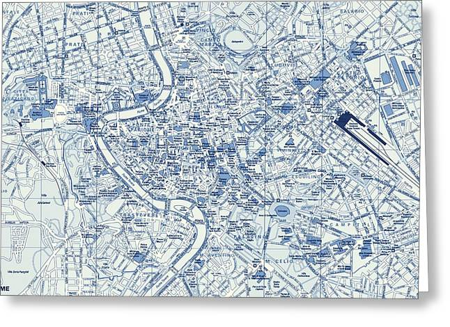 Old And New Mixed Media Greeting Cards - Rome Street Map Greeting Card by Dan Sproul