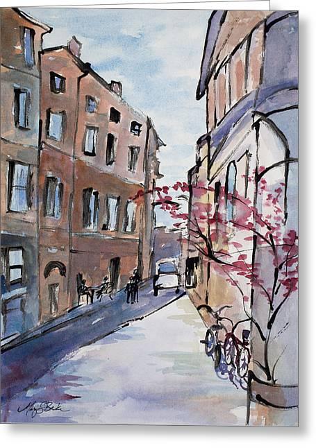 Table Greeting Cards - Rome Street Scene III Greeting Card by Mary Benke