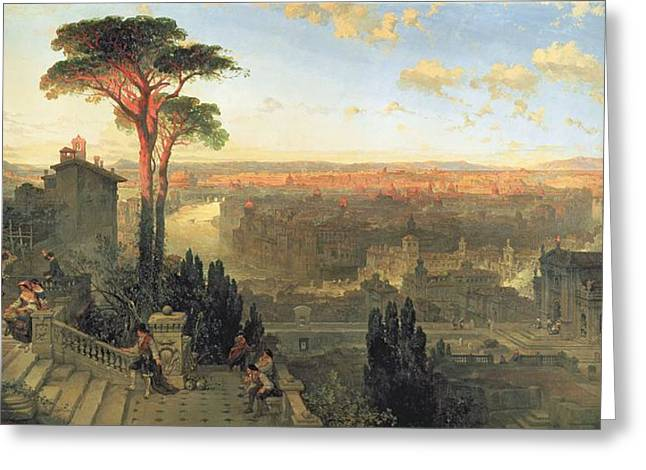 Gypsy Photographs Greeting Cards - Rome, Sunset From The Convent Of San Onofrio On Mount Janiculum, 1856 Oil On Canvas Greeting Card by David Roberts