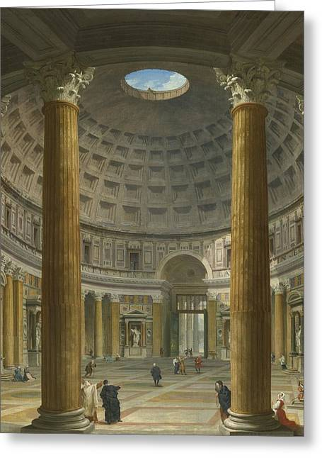 The Piazza Greeting Cards - Rome The Pantheon Greeting Card by Giovanni Paolo Panini
