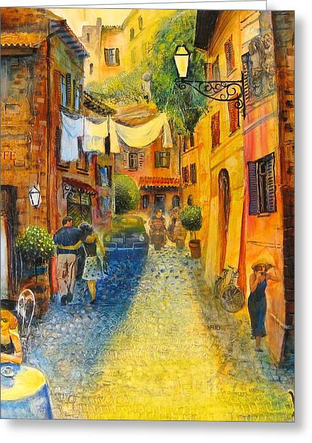 Wine Scene Mixed Media Greeting Cards - Rome-Trastevere Greeting Card by Mikhail Zarovny