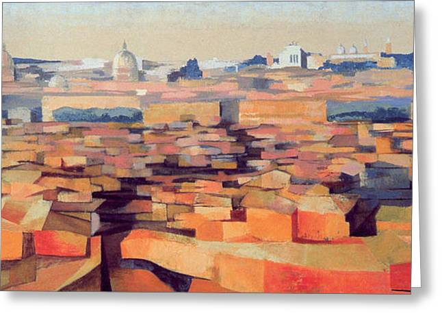 Italian Sunset Greeting Cards - Rome, View From The Spanish Academy On The Gianicolo, Dusk, 1968 Oil On Canvas See Also 213354 & Greeting Card by Izabella Godlewska de Aranda