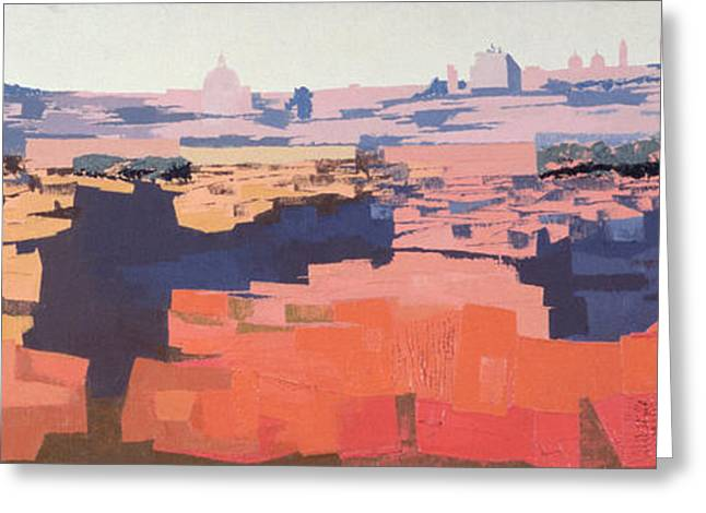 Rome, View From The Spanish Academy On The Gianicolo, Sunset, 1968 Oil On Canvas See Also 213353 & Greeting Card by Izabella Godlewska de Aranda