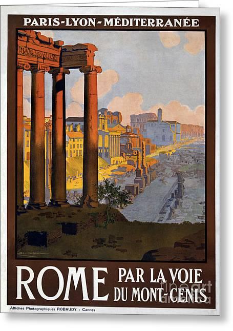 Fashion Design Art Greeting Cards - Rome Vintage Travel Poster Greeting Card by Jon Neidert