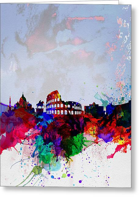 Architectural Landscape Greeting Cards - Rome Watercolor Skyline Greeting Card by Naxart Studio