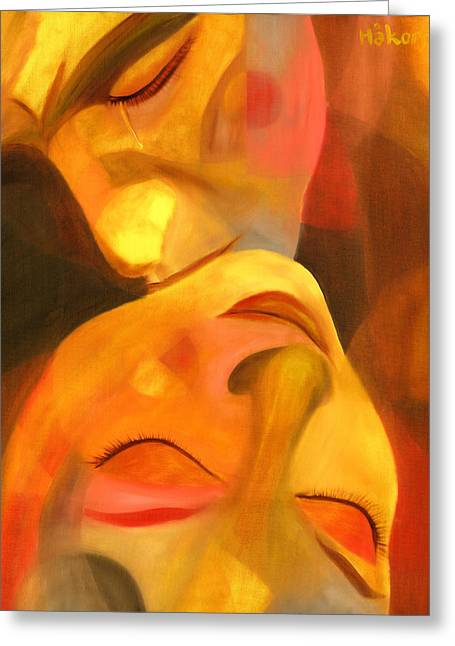 Yellow Paintings Greeting Cards - Romeo and Juliet Greeting Card by Hakon Soreide